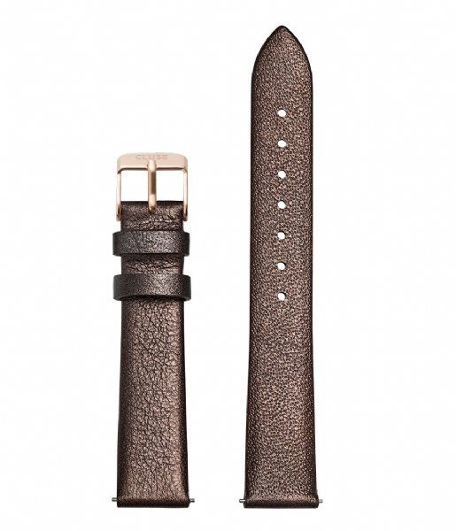 CLUSE Horlogebandje Strap Leather Rose Gold Colored 16 mm chocolate brown metallic (CS1408101052)