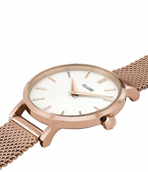 CLUSE Horloge Boho Chic Petite Mesh Rose Gold White rose gold plated