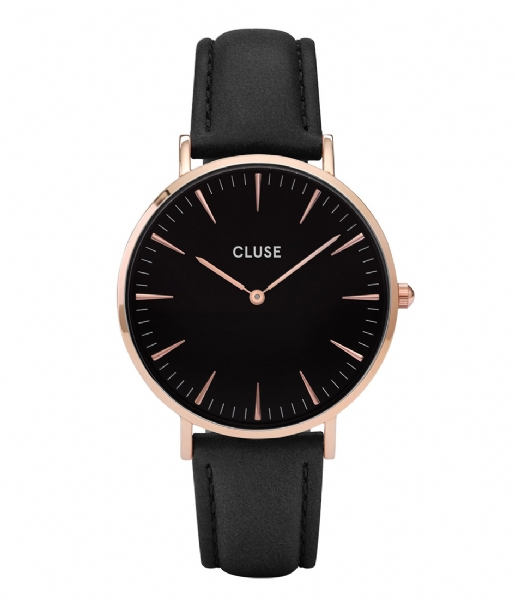 CLUSE Horlogebandje Strap 18 mm Leather Rose Gold Plated black rose gold plated (CS1408101001)