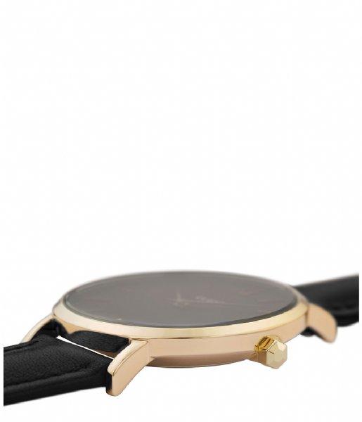 CLUSE Horloge Minuit Leather Gold Plated Black gold black black (CW0101203019)