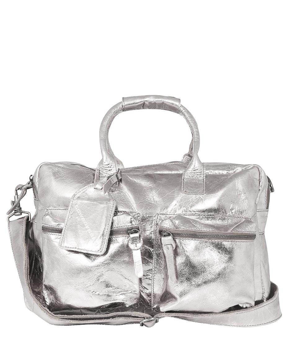 Zilver Schoudertas : Metalton zilver cowboysbag the little green bag