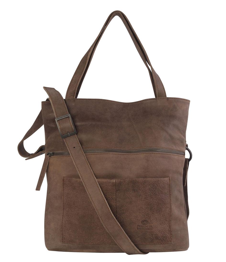 shopper shoulder and handbag big taupe fred de la bretoniere the little green bag. Black Bedroom Furniture Sets. Home Design Ideas