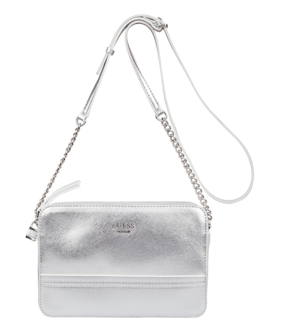 Guess Crossbody Tassen : Devyn crossbody top zip silver guess the little green bag