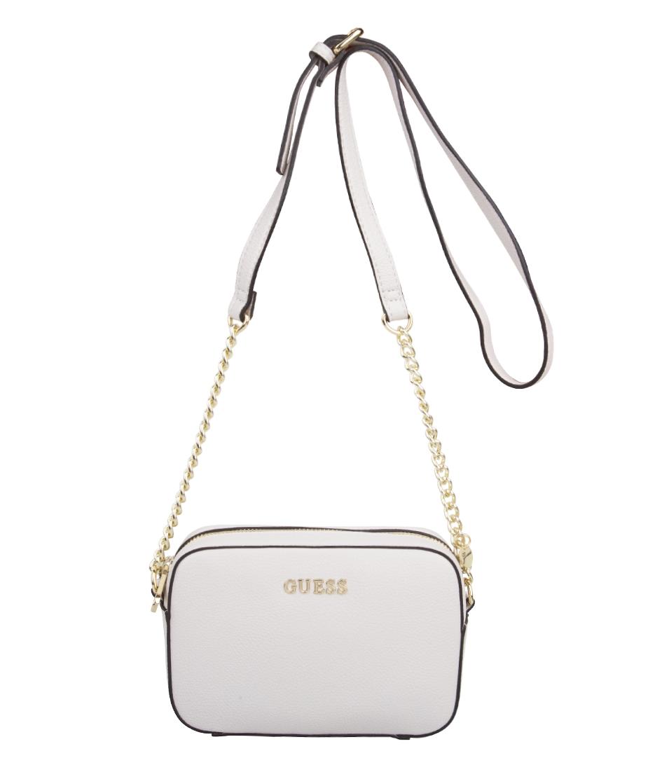 Guess Crossbody Tassen : Isabeau mini crossbody white guess the little green bag