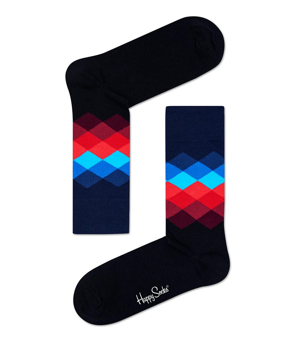 Happy Socks Sokken Socks Faded Diamond Zwart