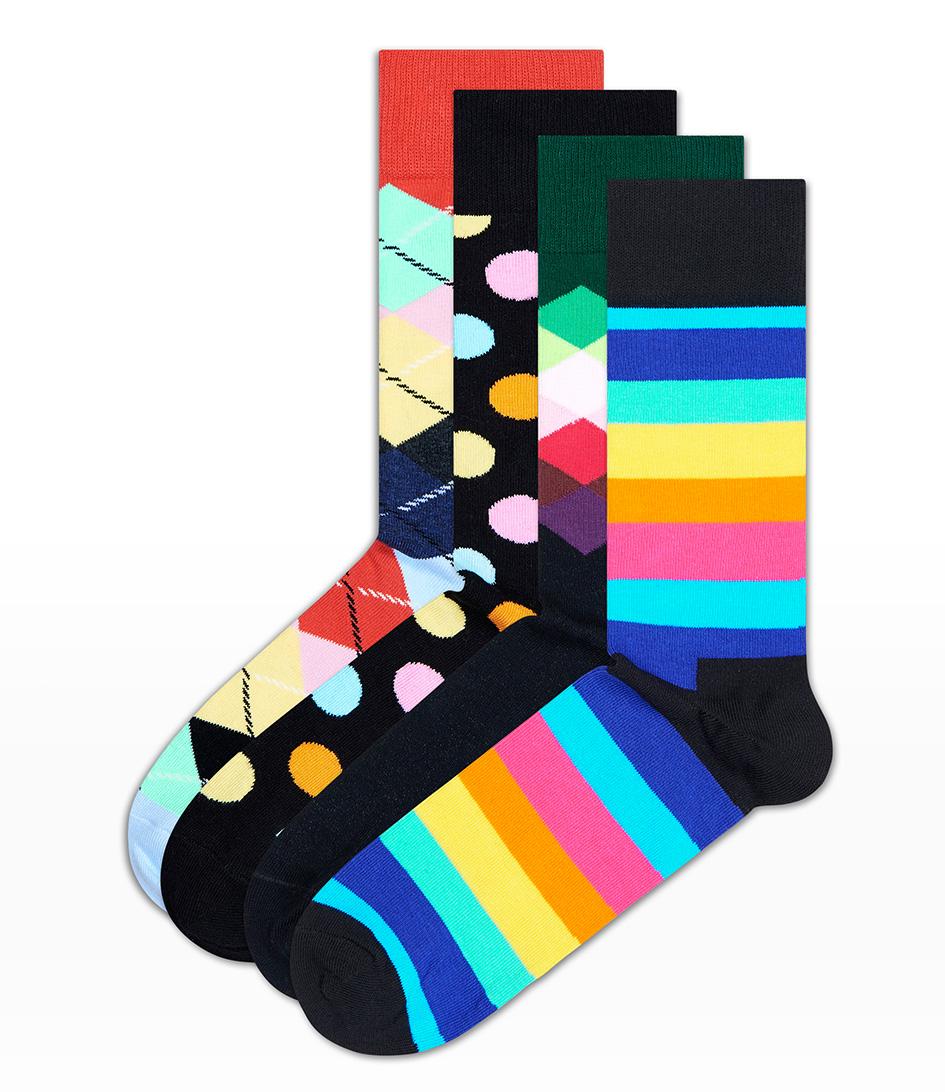 Happy Socks Sokken Giftbox Socks 4 Pack Zwart