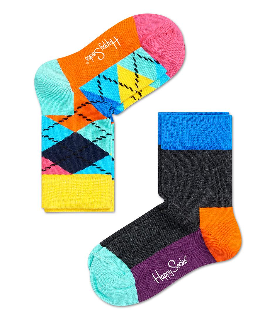 Happy Socks Sokken Kids Socks 2 Pack Argyle Blauw