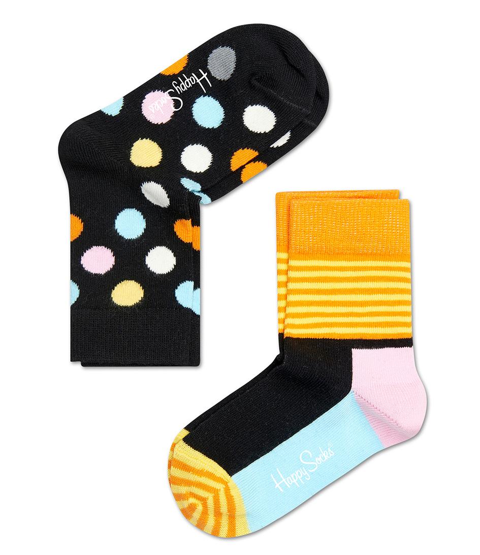 Happy Socks Sokken Kids Socks 2 Pack Big Dot Zwart