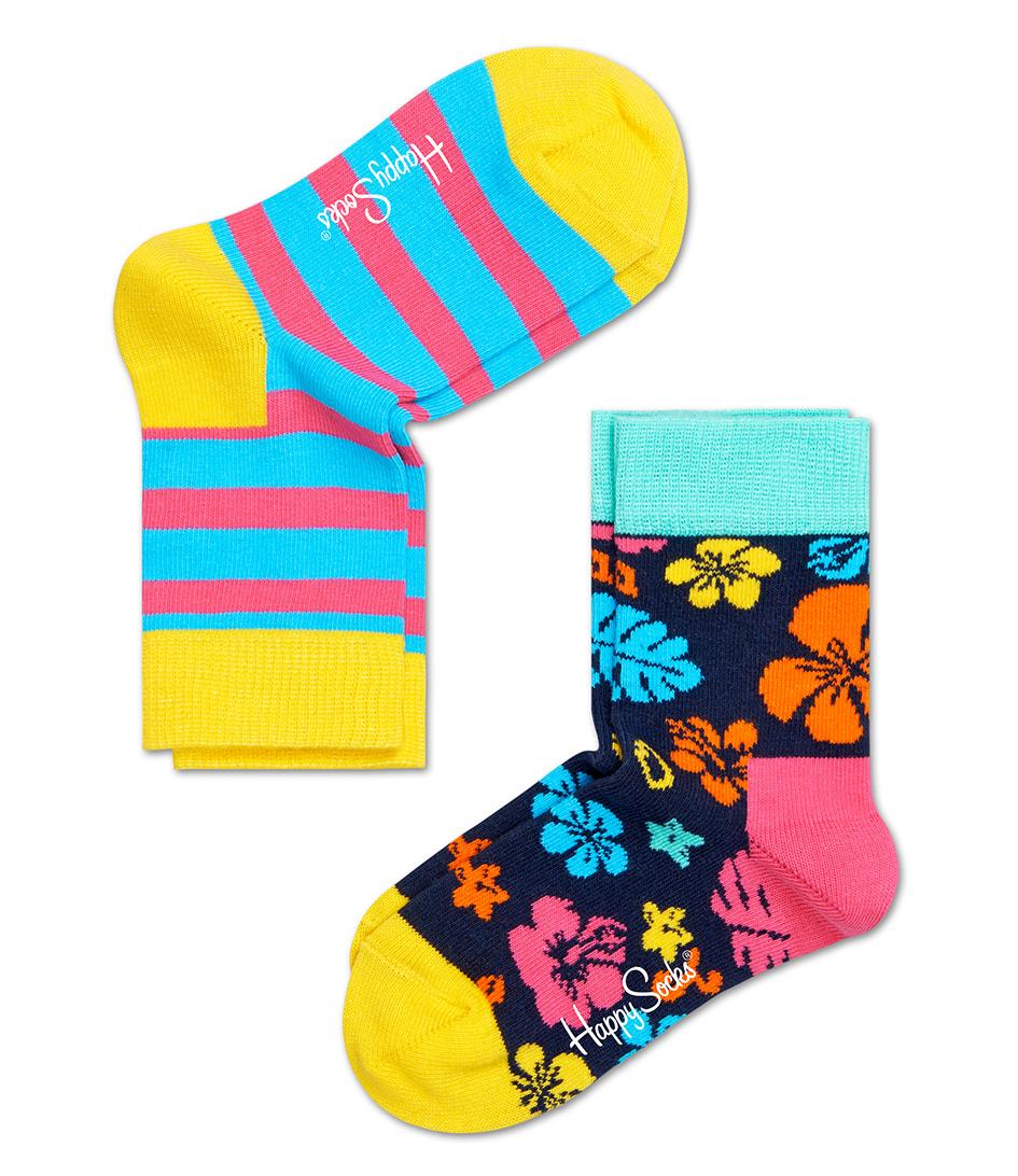 Happy Socks Sokken Kids Socks 2 Pack Hawaii Blauw