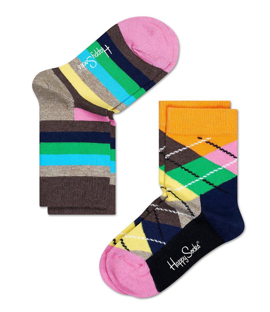 Happy Socks Sokken Kids Socks 2 Pack Argyle Beige