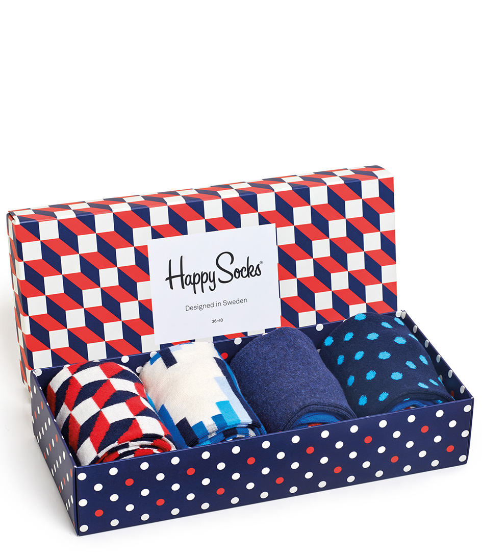 Happy Socks Sokken Filled Optic Giftbox Blauw