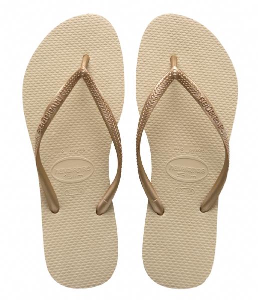 Havaianas Slippers Flipflops Slim sand grey light golden colored (2719)