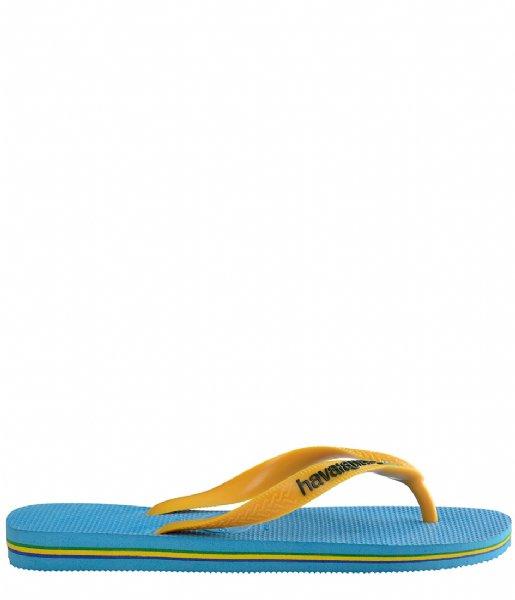 Havaianas Slippers Kids Flipflops Brasil Logo turquoise citrus yellow (4361)