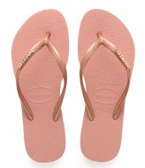 Havaianas Flipflops Slim Logo Metallic rose nude rose gold colored (3655)