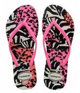Havaianas Flipflops Kids Slim Animals white shocking pink (7808)