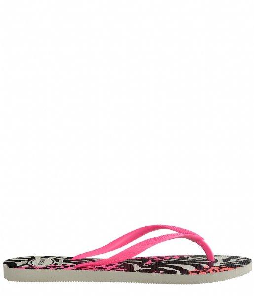 Havaianas Slippers Flipflops Kids Slim Animals white shocking pink (7808)