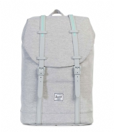 Herschel Supply Co. Retreat Mid Volume light grey crosshatch grey rubber (01578)