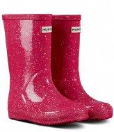 Hunter Original Kids First Classic Giant Glitter Wellington Boots THR pink