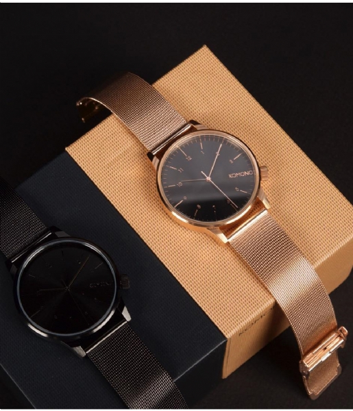 KOMONO Horloge Winston Royale rose gold color black (W2354)