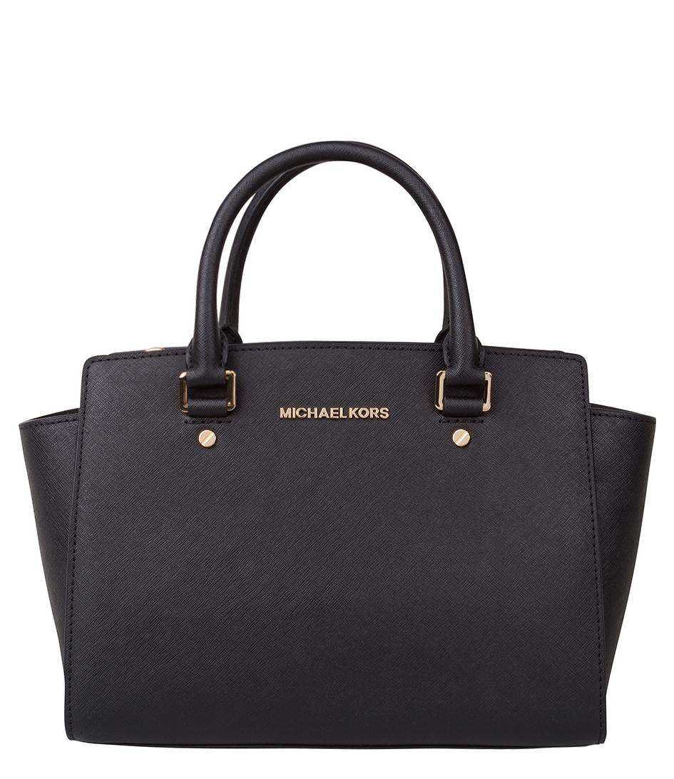Michael Kors Selma Medium Laukku : Selma medium top zip satchel black gold hardware michael