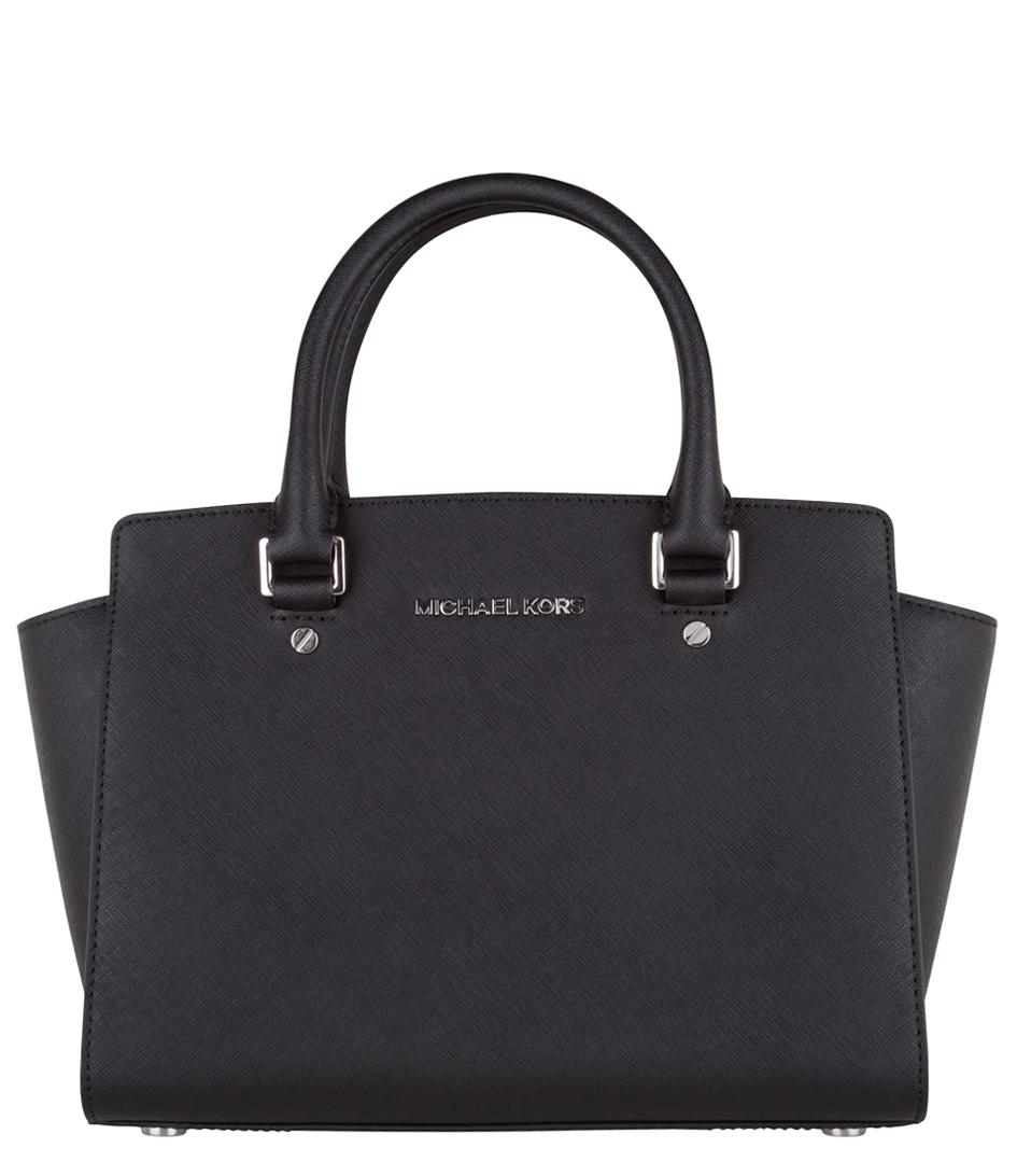 Michael Kors Selma Medium Laukku : Selma medium top zip satchel black silver hardware