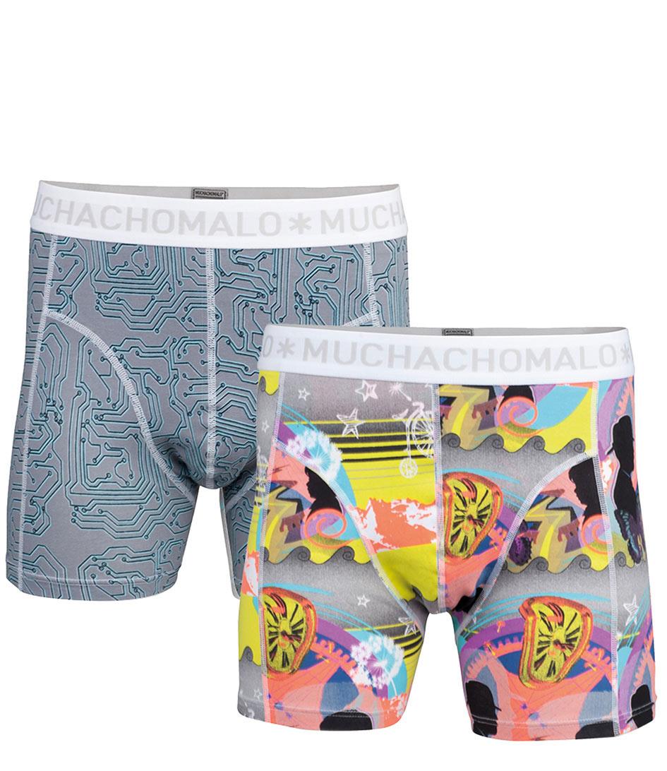 Muchachomalo Boxershorts 2 Pack Men Short Memory Grijs