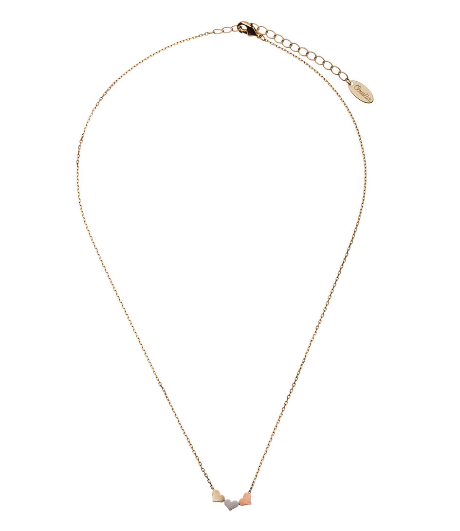 Orelia Kettingen Three Little Hearts Necklace Goud