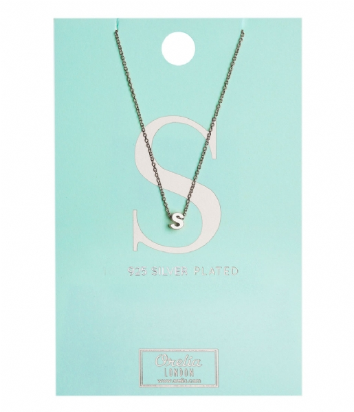 Orelia Ketting Necklace Initial S silver plated (10379)