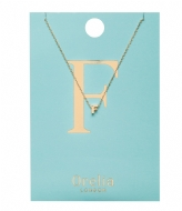 Orelia Necklace Initial F pale gold plated (21142)