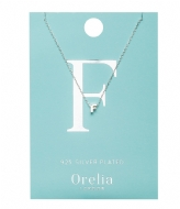 Orelia Necklace Initial F silver plated (21143)