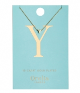 Orelia Necklace Initial Y pale gold plated (21170)