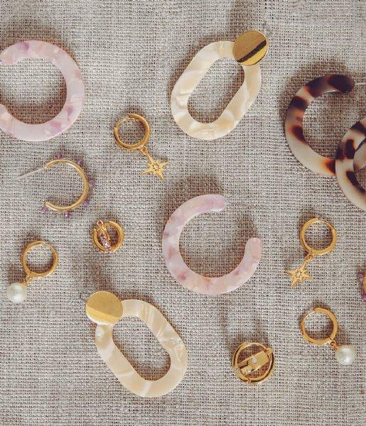 Orelia Oorbellen Pearl Drop Huggie Hoops gold plated (ore25004)
