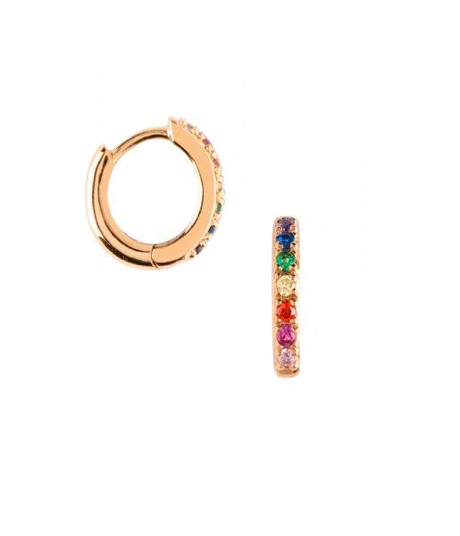 Orelia Oorbellen Rainbow Pave Huggie Hoop gold plated (ORE22922)