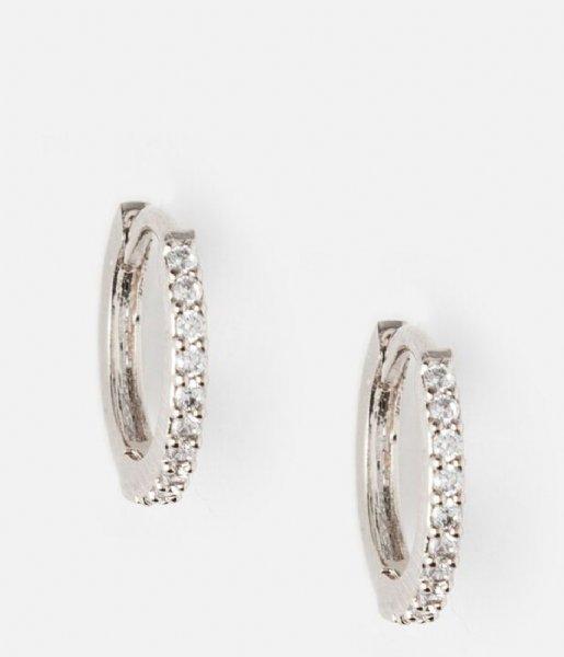 Orelia Oorbellen Mini Pave Huggie Hoop Earrings silver plated (22826)
