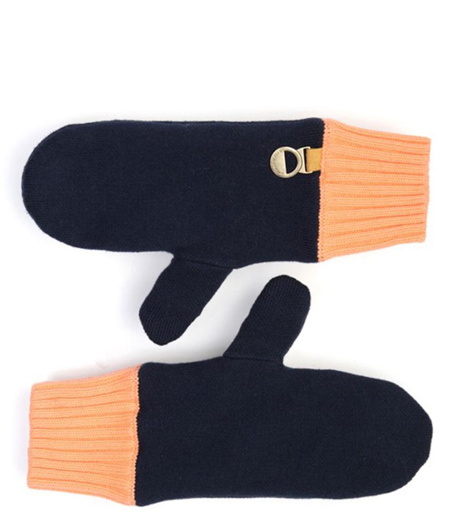 POM Amsterdam Handschoenen Mittens Uni Blue Blauw
