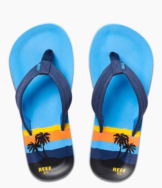 Reef Slippers Kids Ahi blue hawaii