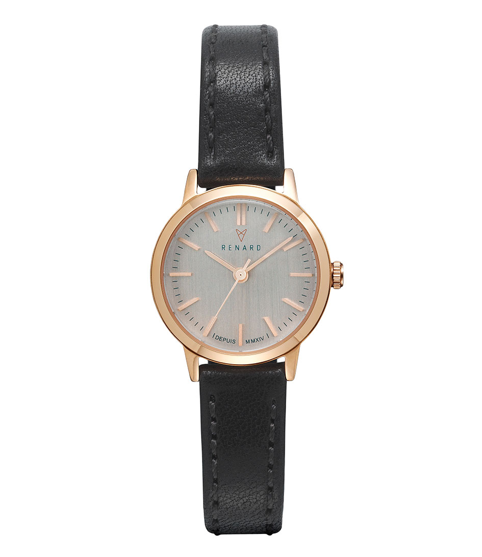 Renard Horloges Elite Rose Gold 25.5 Zwart