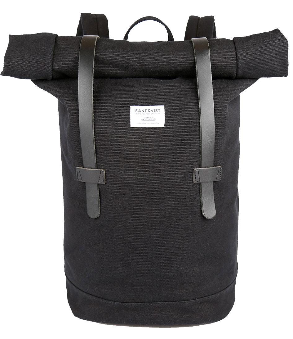Sandqvist Tassen Amsterdam : Backpack stig rolltop black sandqvist the little