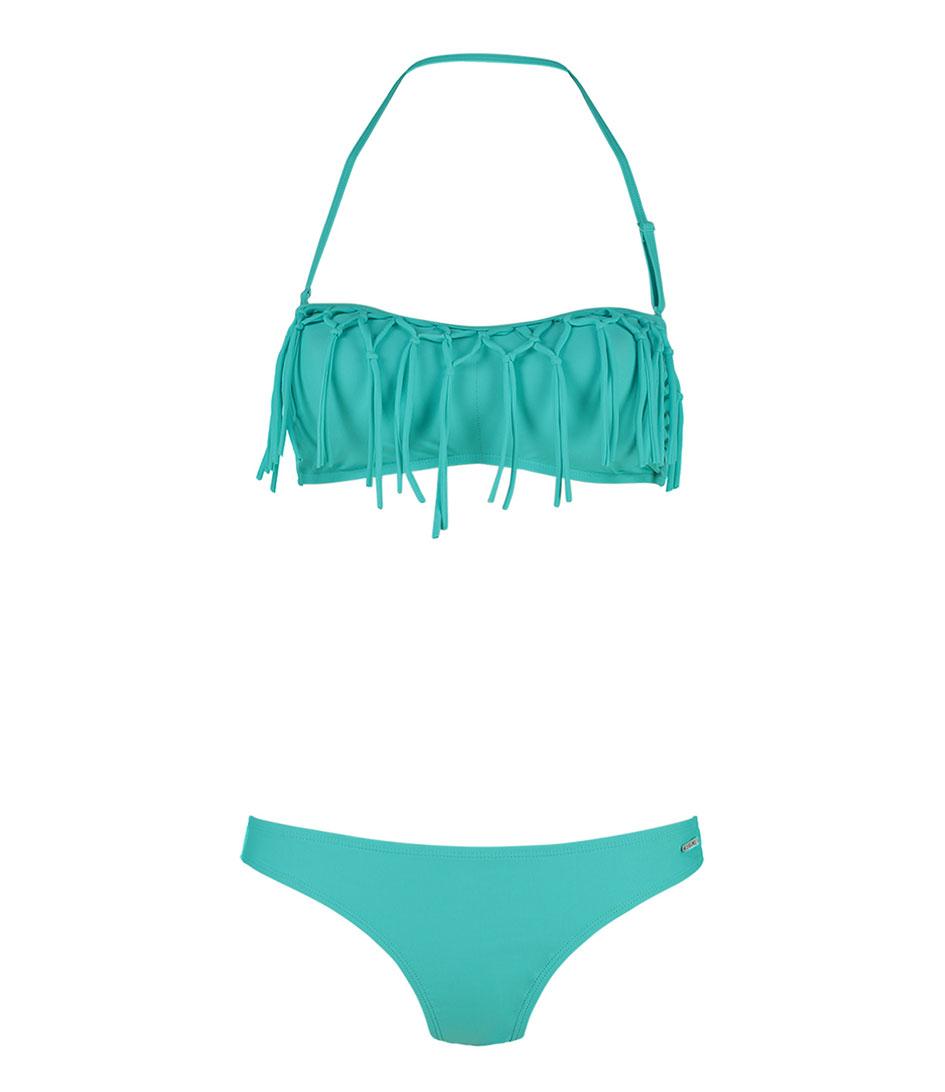 Shiwi Bikinis Bikini Bandeau Fringe Solid Groen