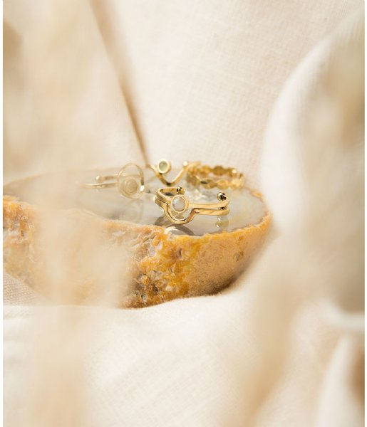 The Little Green Bag Ring Open Moon Ring X My Jewellery gold colored