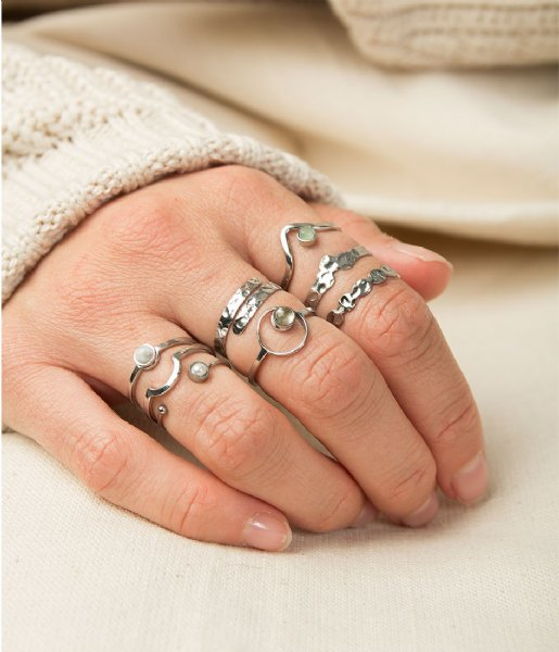 The Little Green Bag Ring Beated Three Coins Ring X My Jewellery silver colored