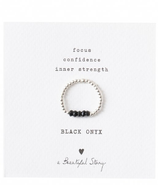 A Beautiful Story Ring Beauty Black Onyx Silver Plated Ring S/M silver plated (BL22875)