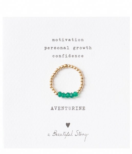 A Beautiful Story Ring Beauty Aventurine Gold Plated Ring S/M gold plated (BL23275)