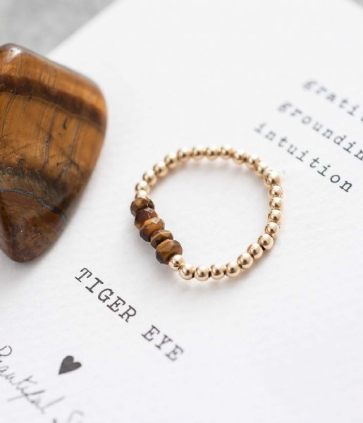 A Beautiful Story Ring Beauty Tiger Eye Gold Ring M/L goud (BL24436)