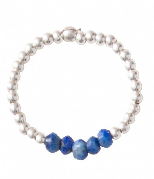 A Beautiful Story Ring Beauty Lapis Lazuli Silver Ring M/L zilver (BL24836)
