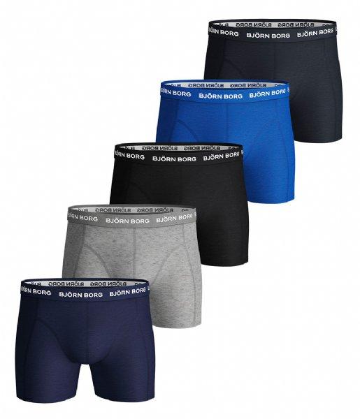 Björn Borg Boxershort Shorts Sammy Solid Essential 5 Pack Blue depths (70101)