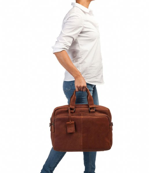 Burkely Laptop schoudertas Burkely Antique Avery Workbag 15.6 Inch cognac (24)