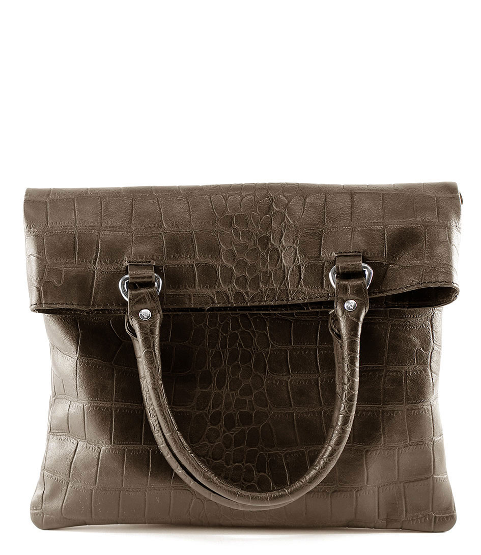 By LouLou Handtassen Bag Vintage Croco Taupe