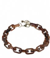 Camps en Camps Oval Link Chain Necklace Bruin-Blauw