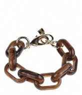 Camps en Camps Oval Link Chain Bracelet Bruin-Blauw